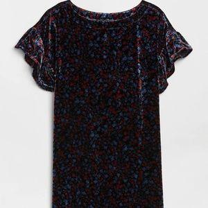GAP Velvet Print Ruffle Sleeve Dress